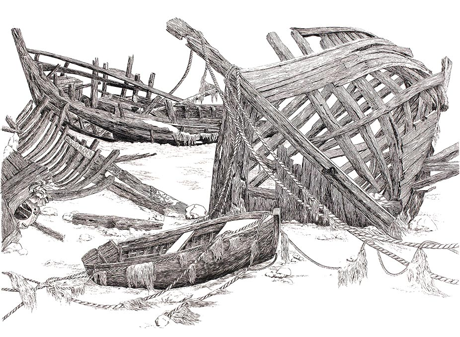 Combien de charpentiers ? Gravure au burin 50x40 © Daniel GIRAULT