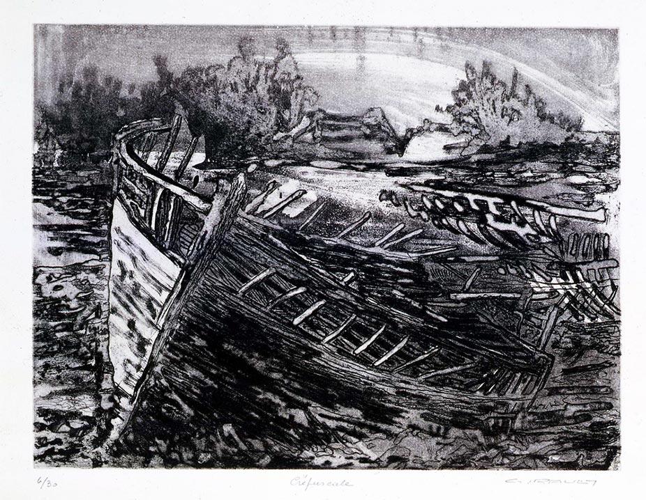 Crépuscule Gravure Eau forte et aquatinte 40x30 © Daniel GIRAULT
