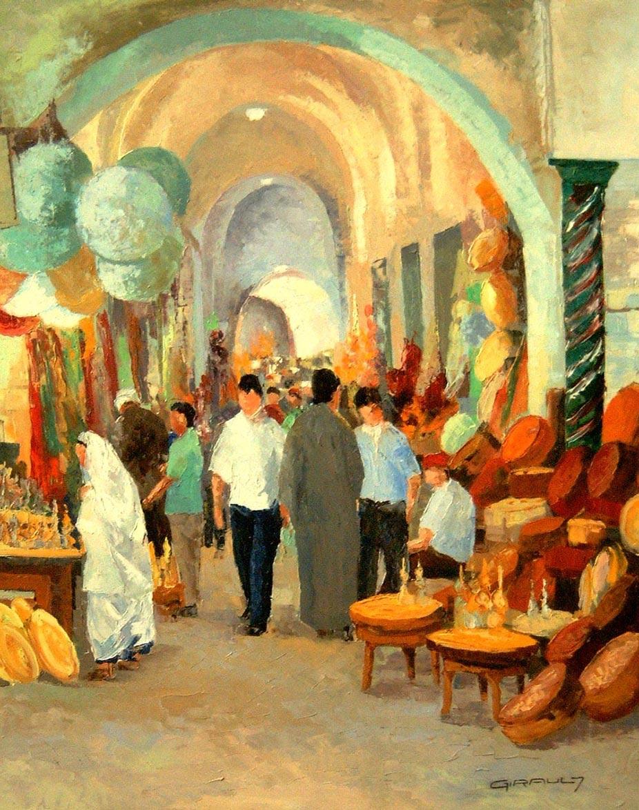 Dans les souks à Tunis Huile 81x65 © Daniel GIRAULT