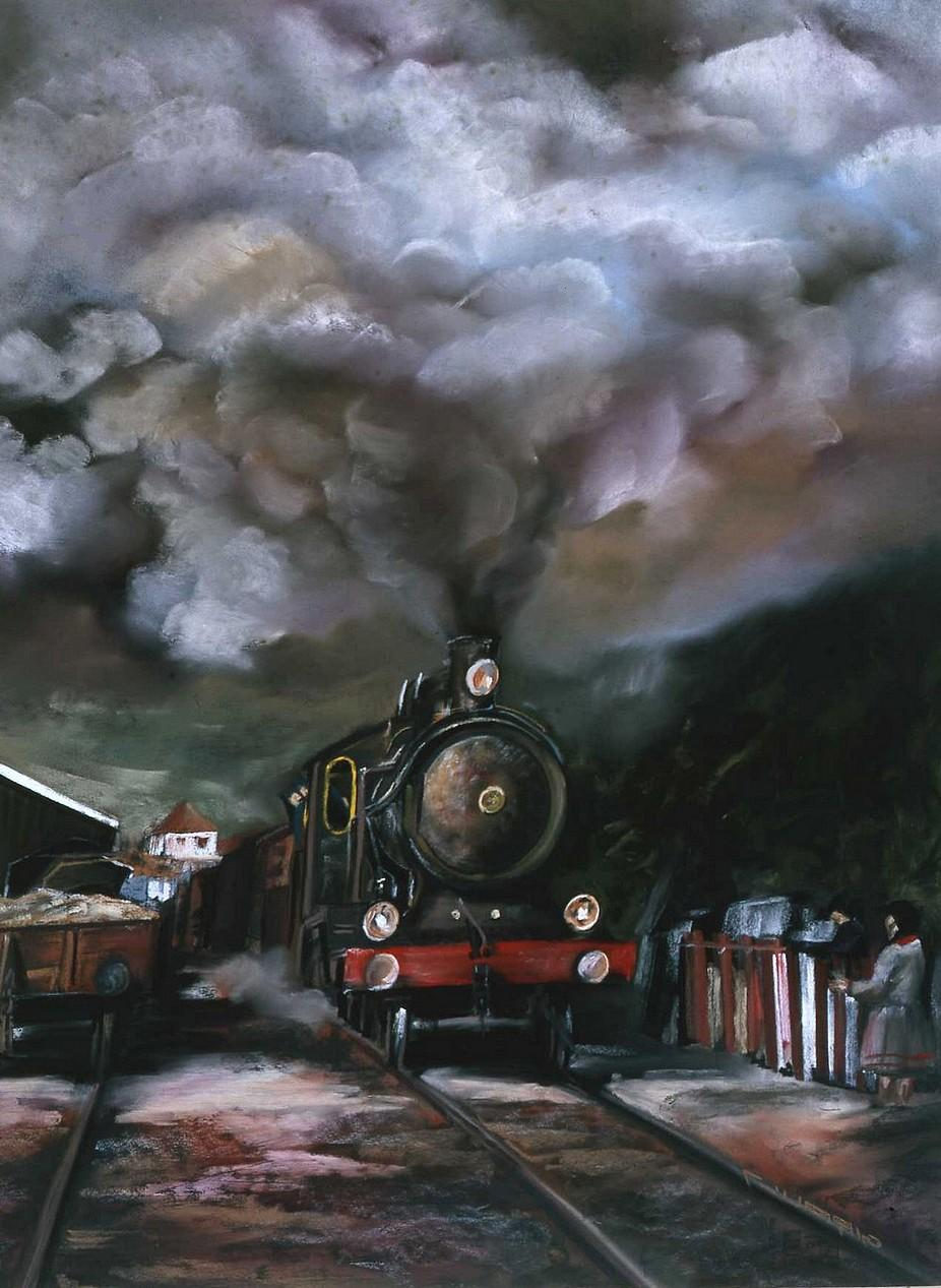 Le Train d'El Paseo 65 x 50 cm Collection particulière © Daniel GIRAULT