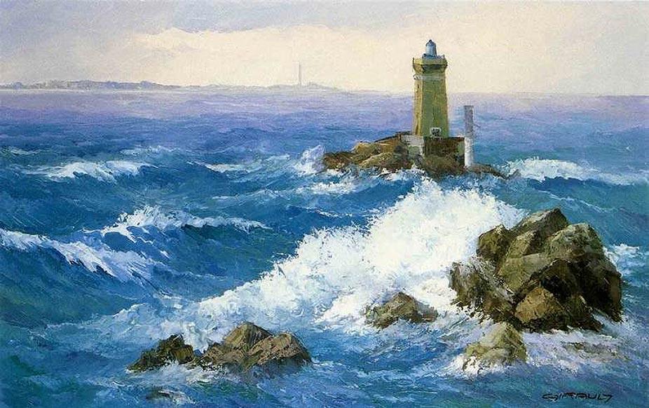 Le phare de la Vieille Huile sur toile © Daniel GIRAULT