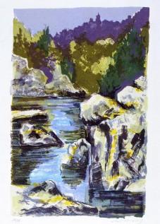 L'embouchure du Gouessant Lithographie © Daniel GIRAULT
