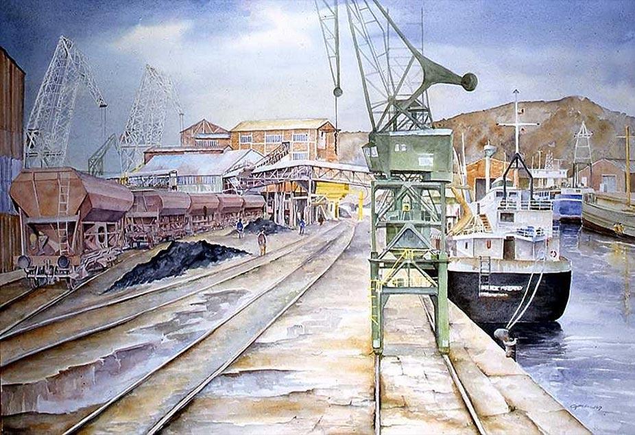 Port charbonnier Aquarelle 114x80 © Daniel GIRAULT