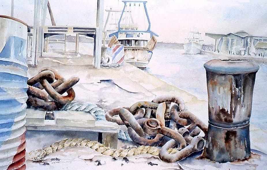 Vision du port de Sète Aquarelle 80x60 © Daniel GIRAULT